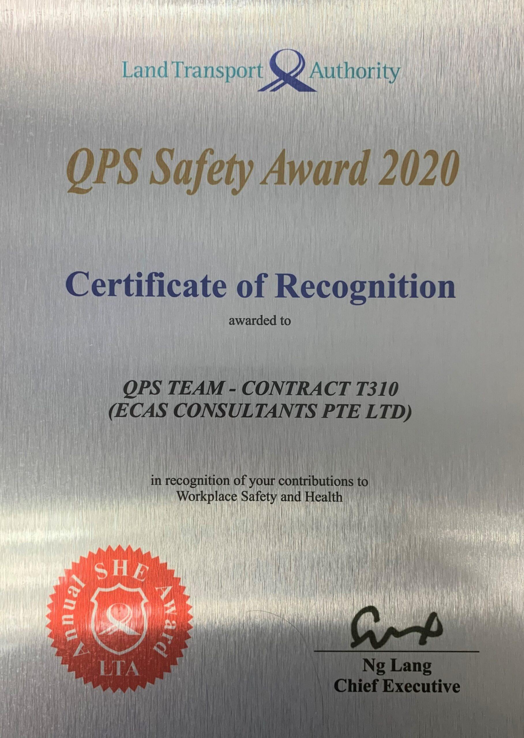 QPS Safety Award - ECAS Consultant Pte Ltd